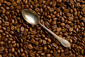 Silver spoon on coffee beans top view of Stock Photos