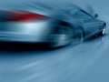 Silver Sports Car in motion Stock Photos
