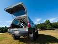 Silver Sports Utility Vehicle hatch open Stock Photos