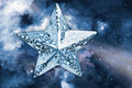 Silver star with space background ornament over Royalty Free Stock Images