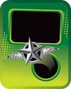 Silver star with wings on green halftone template Stock Photography