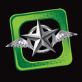 Silver star with wings on tilted green web icon Stock Photo