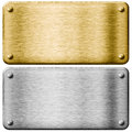 Silver steel and gold metal plates isolated Royalty Free Stock Photo