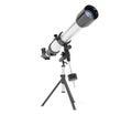 Silver telescope on tripod over white background Stock Photos