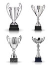 Silver trophies set of different kind of on white background Stock Photo