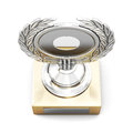 Silver trophy award with laurel wreath isolated on white backgro Royalty Free Stock Photo