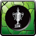 Silver trophy on green cracked web icon Royalty Free Stock Image