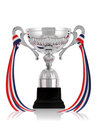Silver trophy with ribbon Royalty Free Stock Photo