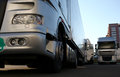 Silver trucks tvo parked from stage truck company serving peter gabriel concert in belgrade Stock Photography