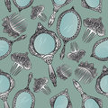 Silver vintage Hand Mirror and Hair Combs seamless pattern. Royalty Free Stock Photo