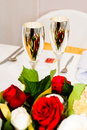 Silver wedding goblets Royalty Free Stock Photo