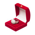 Silver wedding ring velvet box isolated white background Stock Images