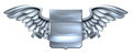Silver Winged Shield Scroll Design Royalty Free Stock Photo