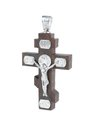 Silver and wooden cross Stock Images