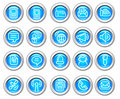 Silvero glossy icon set: Wireless communication Stock Photo