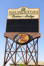 Silverton hotel sign in las vegas nv on may the includes a sq ft bass pro shop and a large salt water Royalty Free Stock Photos