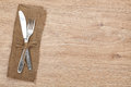 Silverware or flatware set of fork and knife on wooden table Royalty Free Stock Photography