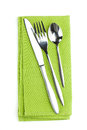 Silverware or flatware set of fork, spoon and knife on towel Royalty Free Stock Photo