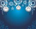 Silvery christmas toys on dark blue decorative background illustration Stock Photography