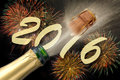 Silvester party 2016 with popping champagne Royalty Free Stock Photo