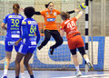 Silvia navarro of oltchim ramnicu valcea pictured defending a shot during a ehf champions league game between and slovenian Stock Image