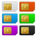 Sim card color set vector illustration on white background Royalty Free Stock Photos