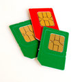 Sim card colored close up on a light plane Royalty Free Stock Photo
