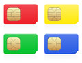 Sim card colour vector illustration isolated on white background Stock Photography