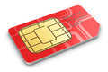 Sim card creative abstract mobile telecommunication wireless technology and mobility business concept macro view of single red for Royalty Free Stock Photos