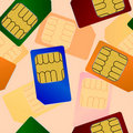 Sim card. Seamless wallpaper. Stock Photo