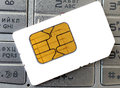 Sim card and telephone mobile Royalty Free Stock Image