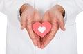 Simbolo del dottore holding heart shape Immagini Stock