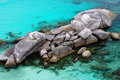 Similan islands huge beautiful reefs and cliffs on the banks of the blue lagoon rest on the thailand Stock Photos