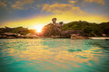 Similan islands between sun set thailand phuket Stock Image