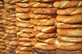 Simit the turkish crispy sesame bagels traditional simits seen at a street vendor at istanbul turkey Royalty Free Stock Images