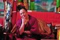 Simling monk monks in jokhang temple tibet Stock Photos