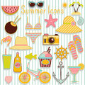 Simmer icons illustration different summer on stripped background Stock Images