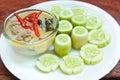 Simmer pork chops with cucumber stew coconut milk dip sauce thai food Stock Photos
