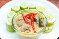 Simmer pork chops with cucumber stew coconut milk dip sauce thai food Royalty Free Stock Photo