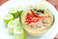 Simmer pork chops with cucumber stew coconut milk dip sauce thai food Royalty Free Stock Image