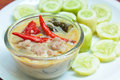 Simmer pork chops with cucumber stew coconut milk dip sauce thai food Stock Images