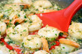 Simmering Shrimp Scampi Stock Photography