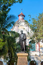 Simon bolivar statue public of in the unesco world heritage center of mompox colombia Stock Photos