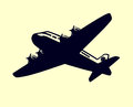 Simple airplane with propellers black and white vector Royalty Free Stock Photo