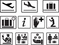Simple airport 2d icons vector set. Universal airport icons to use for information , airline , departure , arrival , flight , gate