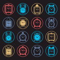 Simple alarm clocks with clock bell vector wake up icons collection graphic design elements time idea Royalty Free Stock Images