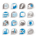 Simple bank, business, finance and office icons Royalty Free Stock Images