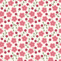 Simple and beauty flower seamless pattern vector illustration good for textile paper wrapping print can be copied without any Royalty Free Stock Photo