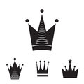 Simple Black Crown Icon Set Isolated