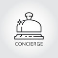 Simple black icon of bell concierge drawn in outline style